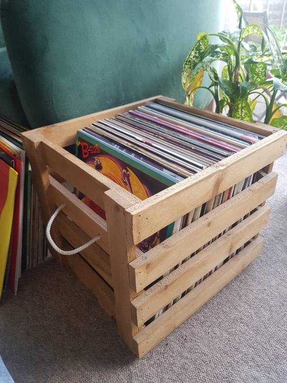 5. OldStablesWoodStudio Vinyl Record Crate
